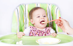 Eating baby girl. Isolated on white Royalty Free Stock Photo