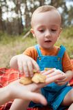 Eating baby nature picnic concept. Delicious food at the fresh air Royalty Free Stock Image