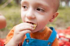 Eating baby nature picnic concept. Delicious food at the fresh air Royalty Free Stock Images