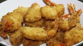 Eating baked shrimp stock video