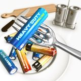 Eating batteries. Humorous concept of calories and energy nutrition royalty free illustration