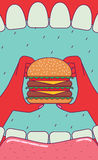 Eating big burger. Royalty Free Stock Photos