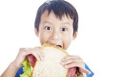 Eating big sandwich Stock Image