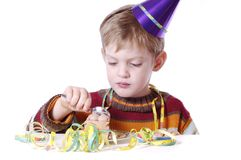 Eating the birthday cake Stock Photo