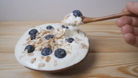 Eating blueberries with cream or yogurt and muesli, by spoon. stock video footage