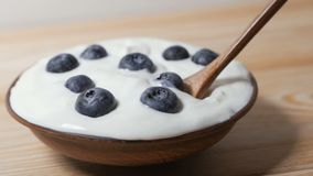 Eating blueberries with cream or yogurt, by spoon. stock footage