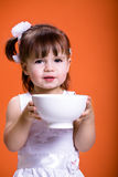 Eating from the bowl Stock Photos