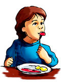 Eating boy. A young boy eating - illustration Royalty Free Stock Photography