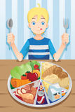 Eating boy. A vector illustration of a boy ready to eat a plate full of food Stock Images