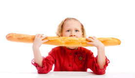 Eating bread Stock Image