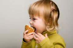 Eating bread Stock Photography