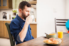 Eating breakfast by myself Royalty Free Stock Image