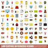 100 eating business icons set, flat style Stock Photos