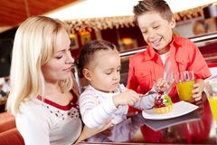 Eating in cafe Royalty Free Stock Images