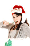 Eating a candy cane. Royalty Free Stock Photo