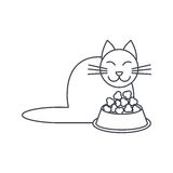 Eating cat line icon Stock Photography