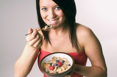 Eating cereal Royalty Free Stock Image