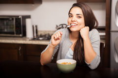 Eating cereal at home Royalty Free Stock Photography