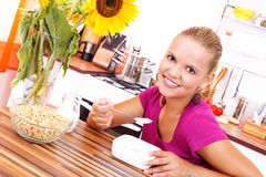 Eating cereals Stock Photo