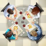 Eating Characters Top View Illustration Royalty Free Stock Photography