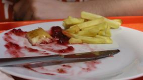 Eating chicken with french fries and cranberries sauce. In dining room stock video footage