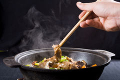Eating chinese food Stock Photo