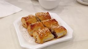 Eating chinese food called bbq pork snack stock footage
