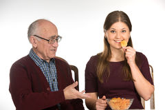 Eating chips Royalty Free Stock Photo