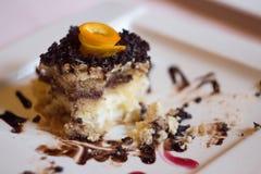 Eating Chocholate and Vanilla Cake Royalty Free Stock Photography