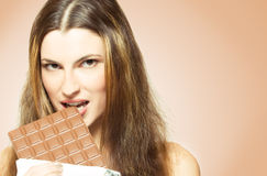 Eating chocolate Royalty Free Stock Photo