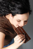 Eating chocolate Stock Photography