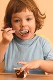 Eating chocolate dessert Stock Photography