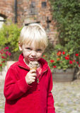 Eating a chocolate icecream Stock Photography
