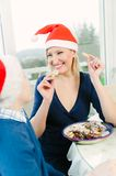 Eating Christmas Cookies Stock Photo