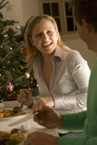 Eating Christmas Roast Stock Images