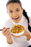 Eating cornflakes Stock Image