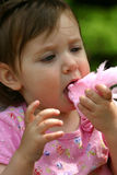 Eating Cotton Candy Stock Photography