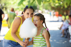 Eating Cotton Candy Royalty Free Stock Photo
