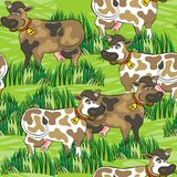 Eating cows on green farm life seamless pattern Royalty Free Stock Image