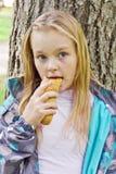 Eating cute girl stock photos