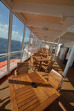 Eating deck of a cruise ship on angle Royalty Free Stock Photos