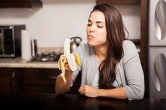 Eating a delicious banana Stock Photo