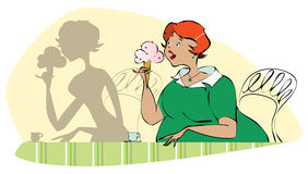 Eating dessert. Vector illustration of a pretty round lady eating icecream and looking at her slim shadow stock illustration