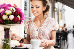 Eating dessert Royalty Free Stock Photography