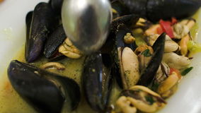 Eating dish with mussels stock video