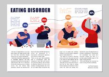 Eating Disorder Magazine Layout. With gluttony symbols infographics flat vector illustration vector illustration