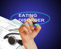 Eating disorder. Writing word Eating disorder with marker on gradient background made in 2d software Stock Photo