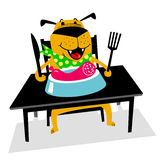 Eating dog. A cheerful dog sits at a table and eats sausage with Royalty Free Stock Images