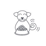 Eating dog line icon. Happy eating smiling dog near full bowl. Dog adoption concept. Vector line icon  on white background Stock Image