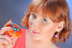 Eating donut Stock Image